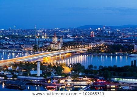 Antenne Wenen rivier donau voorstads- groene Stockfoto © meinzahn