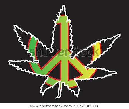 Rastafarian Flag And Leaf Stock photo © Bigalbaloo