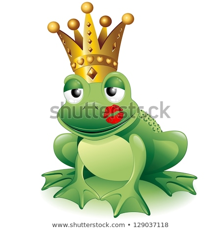 Cute gold cartoon frog with a lipstick kiss Stock photo © adrian_n