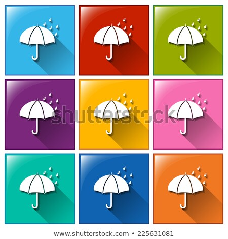 Buttons showing a rainy weather forecast Stock photo © bluering