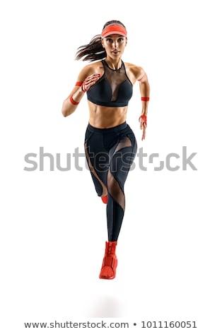 Vrouw hoogspringen witte illustratie achtergrond kunst Stockfoto © bluering