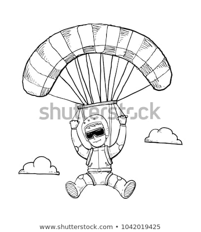 A simple sketch of a man sky diving Stock photo © bluering