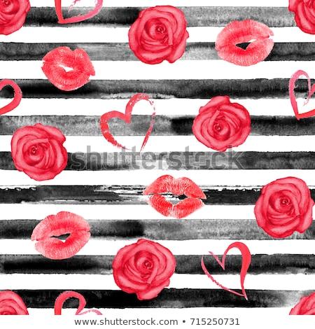 watercolor seamless pattern hand drawn red hearts for valentin stock photo © trishamcmillan