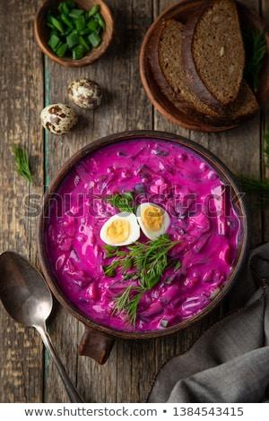 Freddo zuppa ciotola barbabietole panna acida uova Foto d'archivio © user_11224430