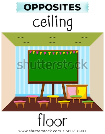 Flashcard for opposite words ceiling and floor Stock photo © bluering