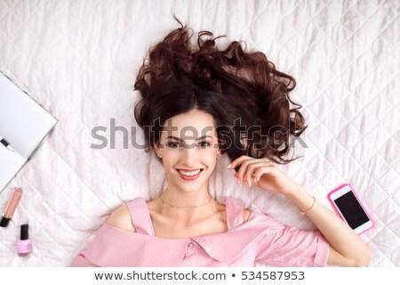 gyönyörű · szőke · nő · haj · hálószoba · hiúság · természetes - stock fotó © neonshot