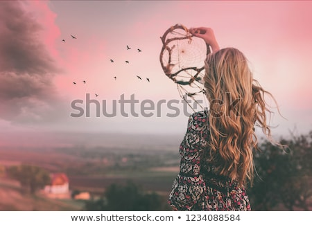 girl with dreamcatcher at sunset Stock photo © adrenalina
