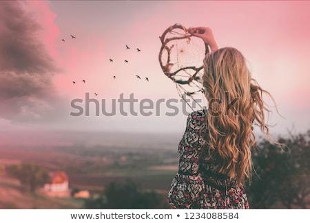Nina puesta de sol ilustración mujer silueta sueno Foto stock © adrenalina