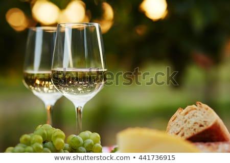 Green grape and two glasses of white wine in the vineyard foto stock © Yatsenko