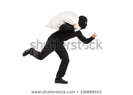 Thief with Bag of Money in Black Mask Isolated. Stock photo © robuart