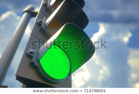 Yeşil trafik ışıkları mavi gökyüzü gökyüzü araba mavi Stok fotoğraf © meinzahn
