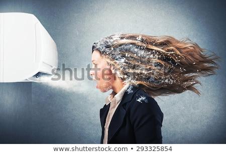 Foto stock: Congelada · menina · retrato · belo · mulher · jovem · make-up
