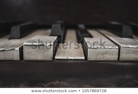 Stock photo: Piano keys close up, piano keyboard, black and white background