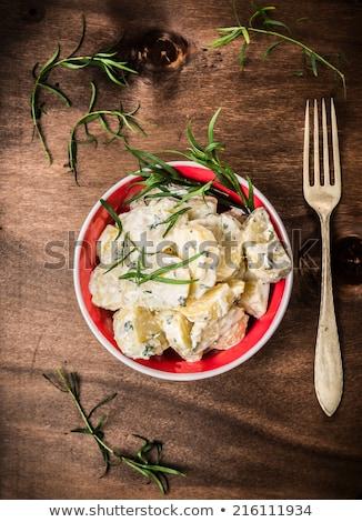 クリーム ポテトサラダ ストリップ ハム ソース 木材 ストックフォト © Digifoodstock