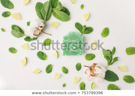 Stok fotoğraf: El · yapımı · sabun · yeşil · nane · yaprakları · damla