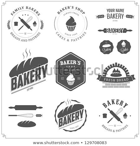 Stok fotoğraf: Bakery Shop Emblem Labels Logo And Design Elements Fresh Bread Vector Illustration