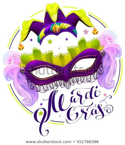 mardi gras lettering text purple carnival mask and clown cap stock photo © orensila