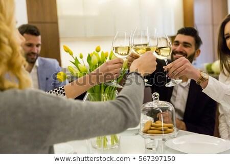 グループ 友達 食事 レストラン ワイン 男 ストックフォト © wavebreak_media