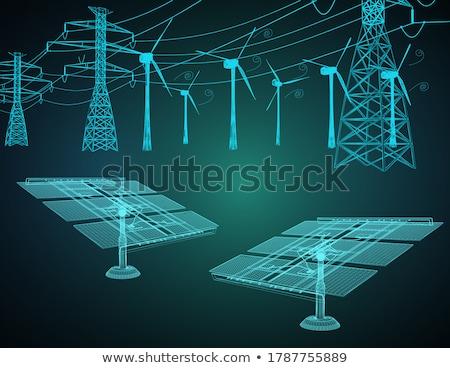 Wind macht generator turbine blauwe hemel technologie Stockfoto © 5xinc