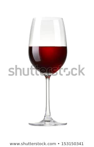 uno · vidrio · vino · blanco · vino · tinto · uvas · hojas · verdes - foto stock © fisher