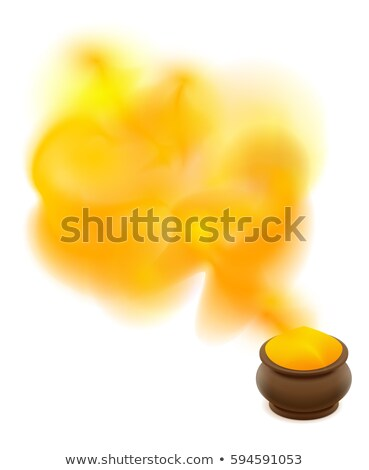 Full clay ceramic pot with yellow paint for holi festival Stock photo © orensila