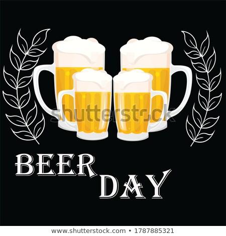 Ağustos uluslararası bira gün takvim tebrik kartı Stok fotoğraf © Olena
