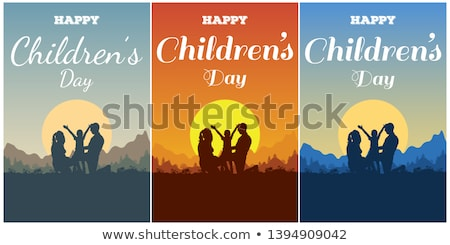 happy fathers day dad mom and kids happy family lettering text for template greeting card stock photo © orensila