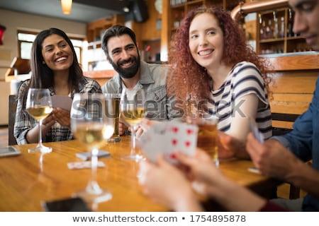 kadın · alkol · cam · oynama · poker · oyun - stok fotoğraf © wavebreak_media