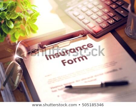insurance form on clipboard 3d stock photo © tashatuvango