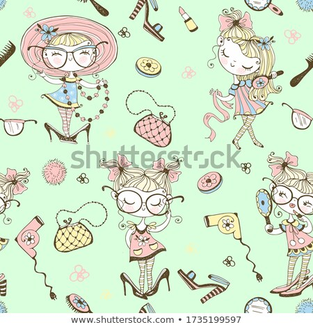 fashion women seamless pattern with clothes and accessories stock photo © margolana