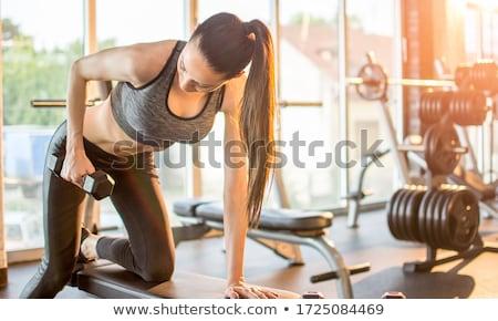 sportos · lány · tornaterem · színes · nadrág · fekete - stock fotó © bezikus