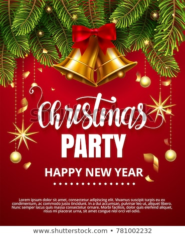 vector merry christmas party flyer illustration with typography and holiday elements on red backgrou stock photo © articular