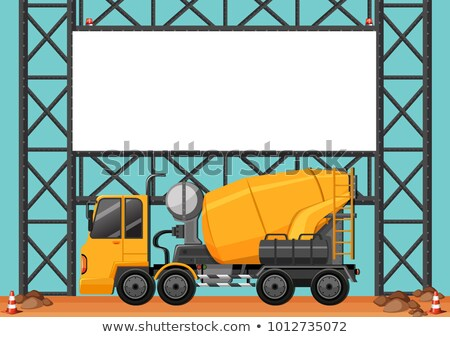 Stock photo: Construction site with blank board and cement truck