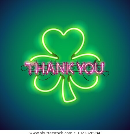 thank you with clover neon sign stock photo © voysla