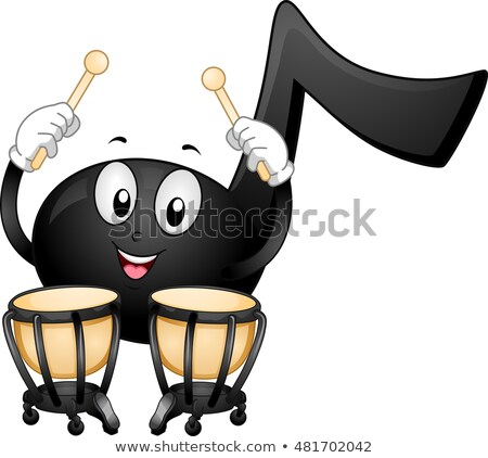 Muziek nota mascotte illustratie zwarte Stockfoto © lenm