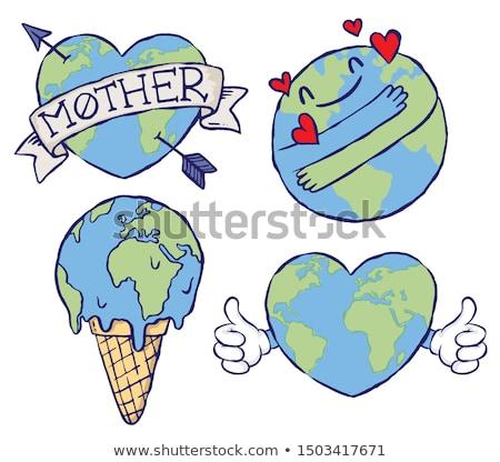 Szeretet Föld kezek gyártmány szív alak földgömb Stock fotó © psychoshadow