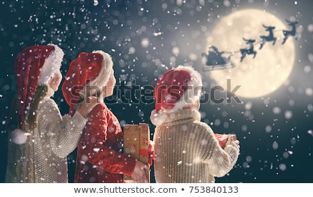 Boy with Xmas presents in snow Stock photo © IS2