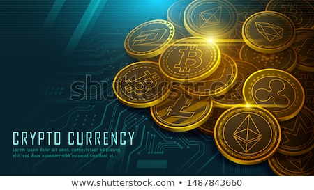 Green bitcoin digital currency concept on circuit board. Vector illustration. Stock photo © gladiolus