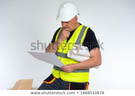 carpenter or joiner working on logs in his workshop stock photo © kzenon