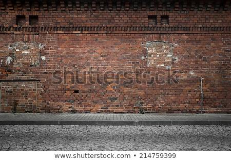 Oude vernietigd muur Rood baksteen Stockfoto © romvo