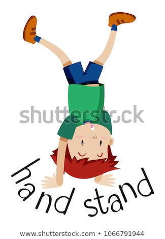 Jongen permanente ondersteboven handen illustratie business Stockfoto © bluering