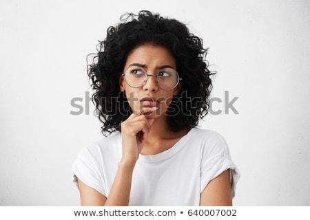 Kadın düşünce lies yalıtılmış beyaz pop art Stok fotoğraf © studiostoks
