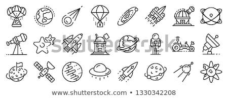 Teleskop przestrzeń kosmiczna ikona ilustracja długo Zdjęcia stock © lenm