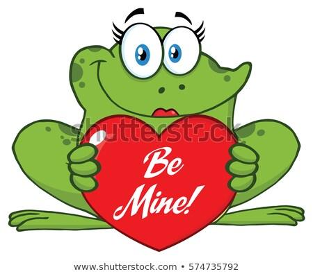 Kikker vrouwelijke cartoon mascotte karakter Valentijn Stockfoto © hittoon