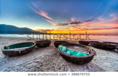 Vietnam Rood zand vissen boten water Stockfoto © romitasromala