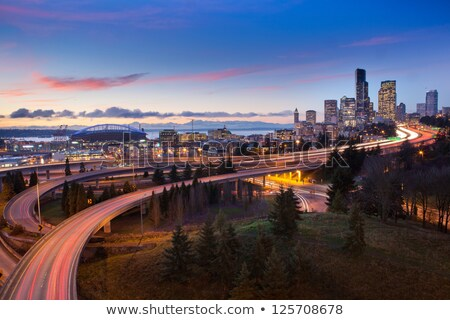 seattle skyline and puget sound blue hour stock photo © davidgn