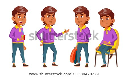 Boy Schoolboy Kid Poses Set Vector. Primary School Child. Funny Children. Junior. Lifestyle, Friendl Stock photo © pikepicture