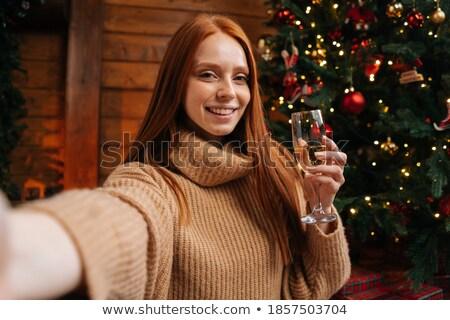 jonge · vrouw · wijn · glas · portret · drinken - stockfoto © dashapetrenko