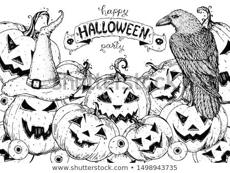 cadılar · bayramı · kabak · simgeler · kartpostal · model · yüz · turuncu - stok fotoğraf © lemony