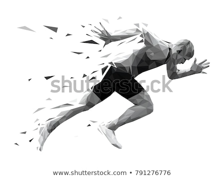 Runner Racing Track and Field Silhouette Stock photo © Krisdog